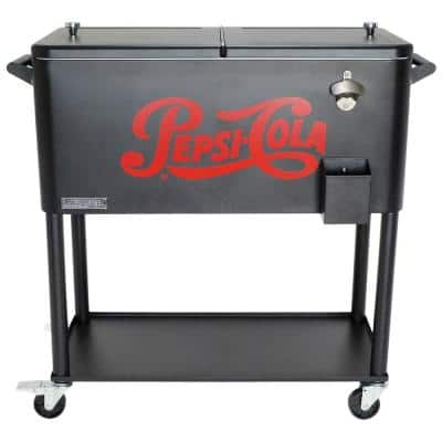 80 Qt. Rolling Patio Cooler with Bottle Tray