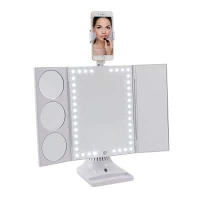 8.25 in. W Makeup Mirror Swiveling Smartphone Mount in White
