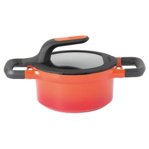 GEM Stay Cool 1.6 qt. Cast Aluminum Nonstick Sauce Pan in Orange with Glass Lid