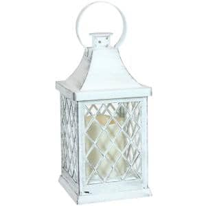 Ligonier White Battery-Powered LED Candle Indoor Lantern - 10 in.