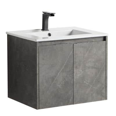 Airo Rock Stylish 24 in. Bathroom Cabinet with Wash Basin without LED Mirror