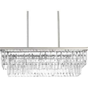 Glimmer Collection 4-Light Silver Ridge Luxe LinearChandelier Light