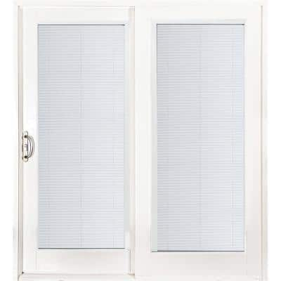 72 in. x 80 in. Smooth White Left-Hand Composite Sliding Patio Door with Built in Blinds