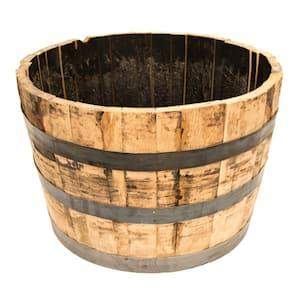 26 in. Dia x 17.5 in. H White Oak Wood Whiskey Barrel