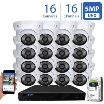 16-Channel 5MP NVR 4TB HDD Surveillance System w/ 16 Wired IP Indoor/Outdoor Cameras 3.6 mm Lens Nightvision 100 ft. IR