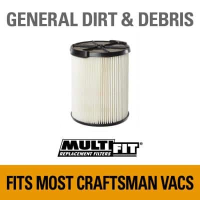 General Purpose Replacement Cartridge Filter for Most 5 to 20 Gal. CRAFTSMAN Wet/Dry Shop Vacuums