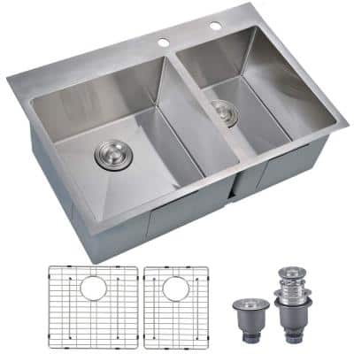 Handmade Drop-in Stainless Steel 33 in. 2-Hole 60/40 Double Bowl Kitchen Sink with 9 Ga Ex-Thick Desk