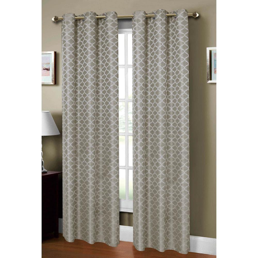 window elements semi opaque sonata woven lattice 54 in w x 84 in l grommet curtain panel in jacquard gray ymc002478 the home depot