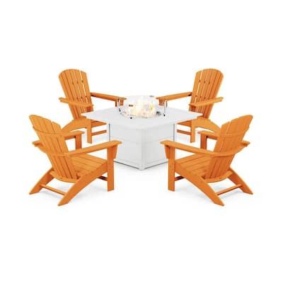 Grant Park Tangerine 5-Piece Plastic Patio Adirondack Conversation Set with Fire Pit Table