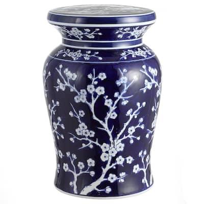 Cherry Blossom 17.7 in. Navy/White Ceramic Garden Stool