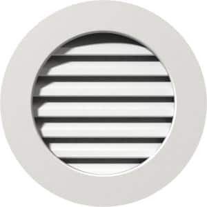 31 in. x 31 in. Round White PVC Paintable Gable Louver Vent