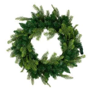 36 in. Pre-Lit Woodcrest Pine Artificial Christmas Wreath, Clear Lights
