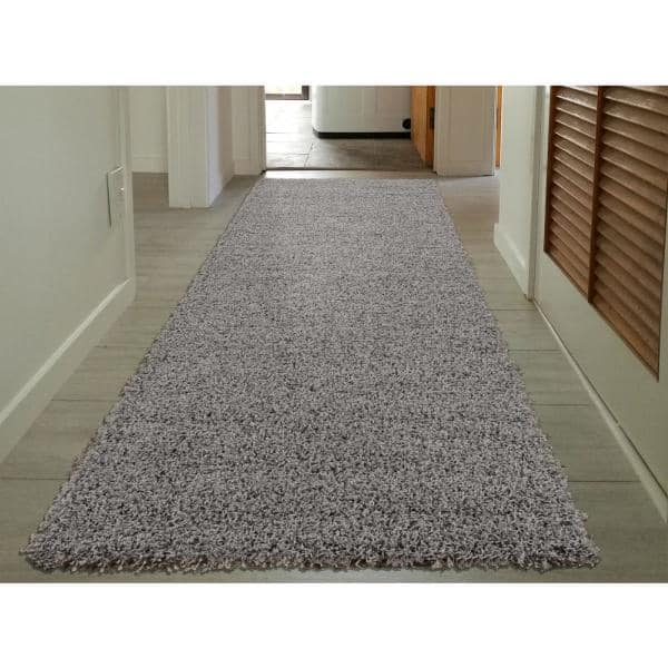 Sweet Home Stores Cozy Shag Collection Grey 2 Ft X 5 Ft Runner Rug Cozy2763 2x5 The Home Depot