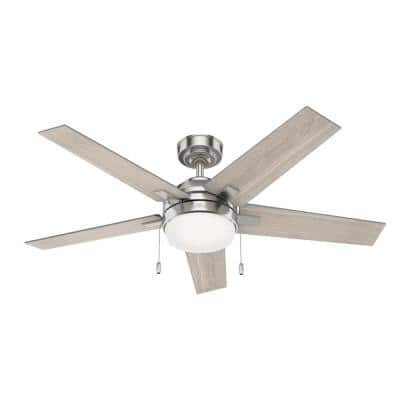 Bartlett 52 in. LED Indoor Brushed Nickel Ceiling Fan with Light Kit