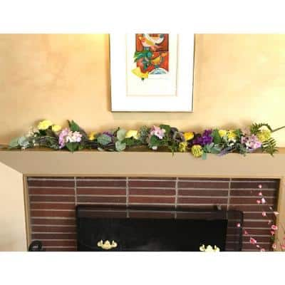 60 in. Purple Artificial Floral Hydrangea and Flower Garland