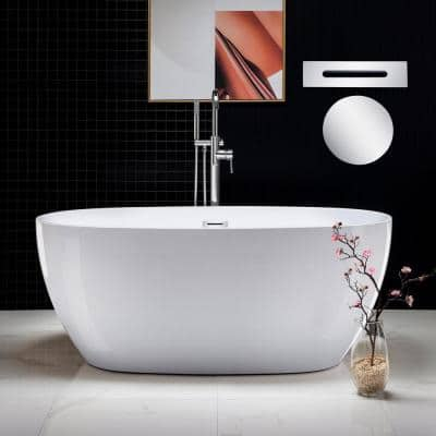 Rouen 59 in. Acrylic FlatBottom Double Ended Bathtub with Polished Chrome Overflow and Drain Included in White