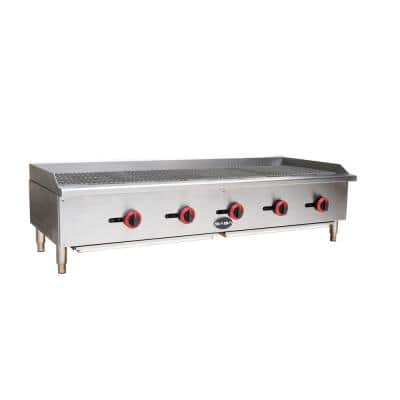 60 in. Gas Cooktop Charbroiler in Stainless Steel with 5 Burners