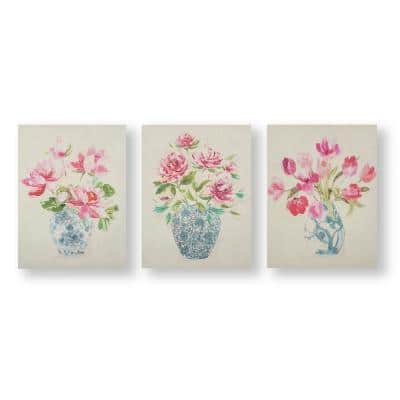 Floral Ginger Jars Printed Canvas Home Wall Art 12 in. x 16 in. (set of 3)