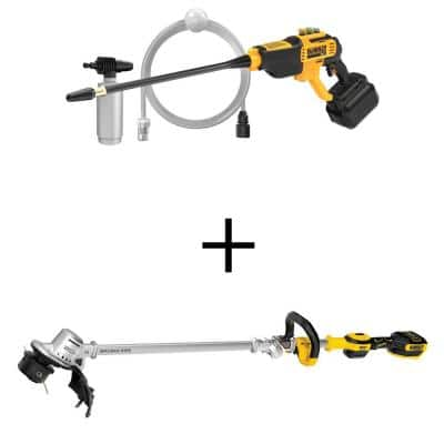 20-Volt Max 550 PSI, 1.0 GPM Cold Water Cordless Electric Power Cleaner w/20V Brushless String Trimmer (Tool Only)