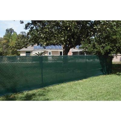 44 in. x 50 ft. Mesh Fabric Privacy Fence Screen with Integrated Button Hole in Green