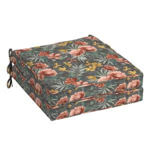 Phoebe Floral Square Outdoor Welted Dining Seat Cushion (2-Pack)