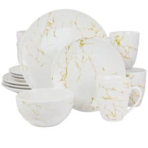 Fine Marble 16-Piece Gold and White Stoneware Dinnerware Set (Service for 4)
