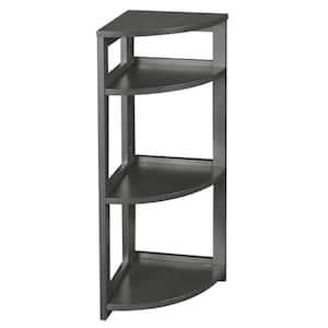 Nemus 34 in. Grey 3-Shelf High Corner Folding Standard Bookcase