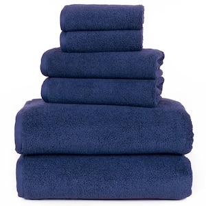 6-Piece Solid Navy 100% Cotton Bath Towel Set
