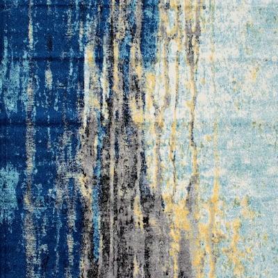 Katharina Modern Abstract Blue 6 ft. Square Rug