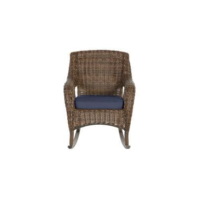 Cambridge Brown Wicker Outdoor Patio Rocking Chair with CushionGuard Midnight Navy Blue Cushions