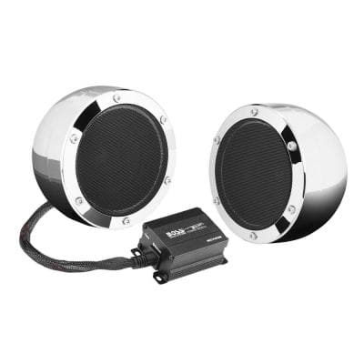 MC720B 4 in. 1000-Watt Full Range Motorcycle ATV Bluetooth Speakers Pair and Amp