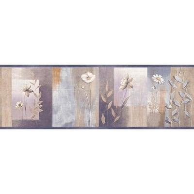 Falkirk Dandy Silver, Purple, Violet Flowers, Shapes Geometric Peel and Stick Wallpaper Border