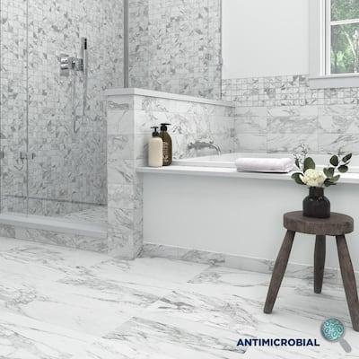 EpicClean Milton Arabescato Marble 3 in. x 12 in. Glazed Porcelain Bullnose Trim Tile (0.25 sq. ft. /Piece)