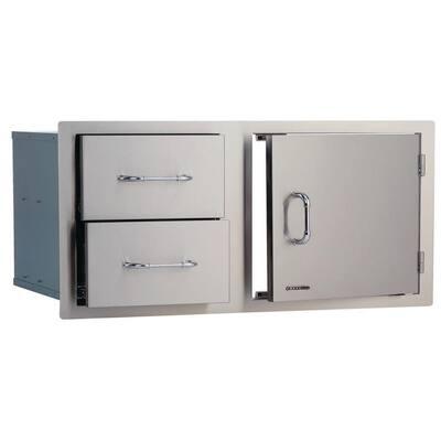 33 in. x 22 in. x 20.50 in. Built-in Door and Double Drawer Storage Combo