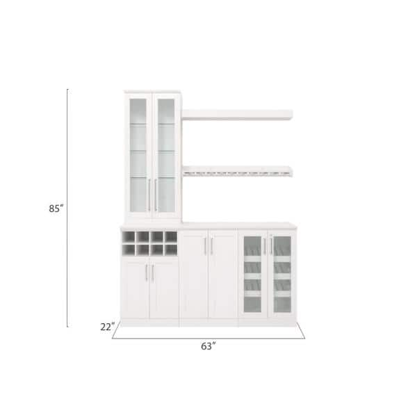 Newage Products Home Bar 21 In White Cabinet Set 7 Piece 61188 The Home Depot