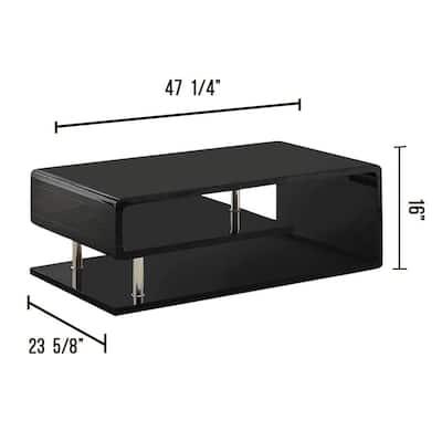 Niinove 48 in. Black Large Rectangle Wood Coffee Table with Shelf
