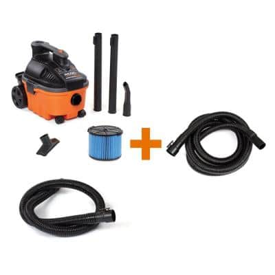 4 Gallon 5.0-Peak HP Wet/Dry Shop Vacuum with Fine Dust Filter, Hose, Accessories and Additional 14 ft. Tug-A-Long Hose