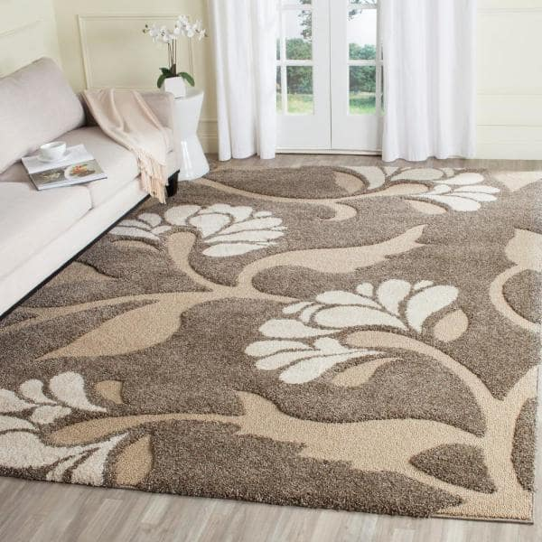 Safavieh Florida Shag Smoke Beige 8 Ft X 10 Ft Area Rug Sg459 7913 8 The Home Depot