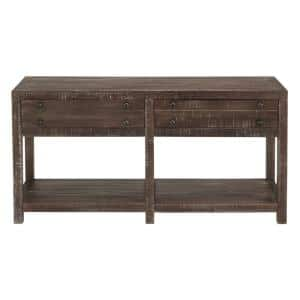 Townsend 60 in. Java Standard Rectangle Wood Console Table with 2-Drawers