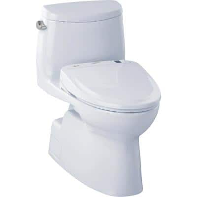 Carlyle II Connect 1-Piece 1.28 GPF Elongated Toilet with Washlet S350e Bidet and CeFiOntect in Cotton White