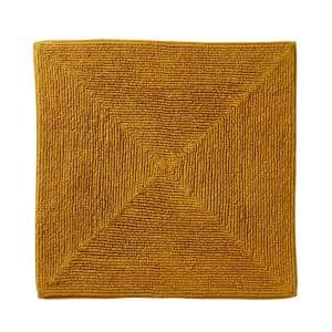 Ombre Yellow 25 in. W x 25 in. L 100% Cotton Bath Mat Rug