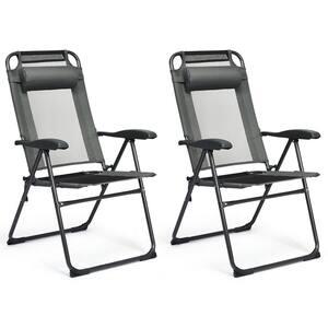 Black 2-Piece Metal Folding Lawn Chair