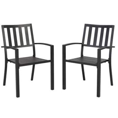 Black 2-Pieces Stackable Galvanized Steel Anti-Rust Dining Chairs - Lawn, Bistro Furniture, Broad Square Back
