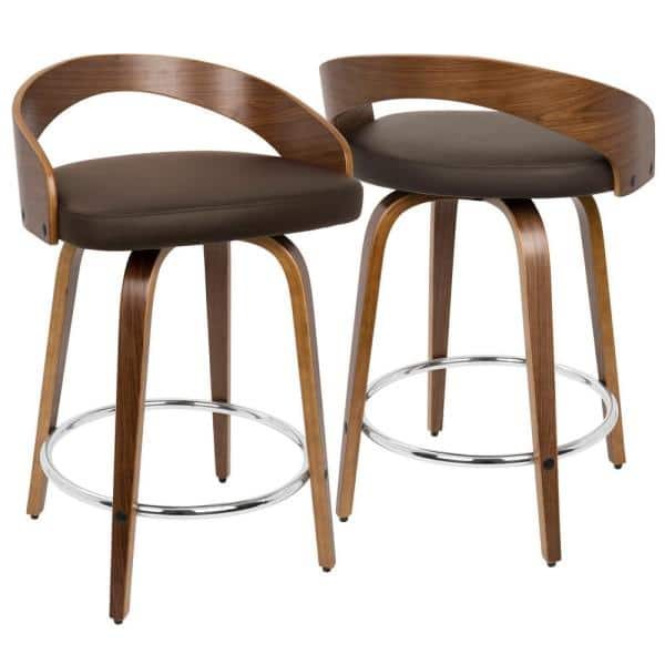 Lumisource Grotto 24 In Walnut And Brown Faux Leather Counter Stool Set Of 2 B24 Grottor Wlbn2 The Home Depot