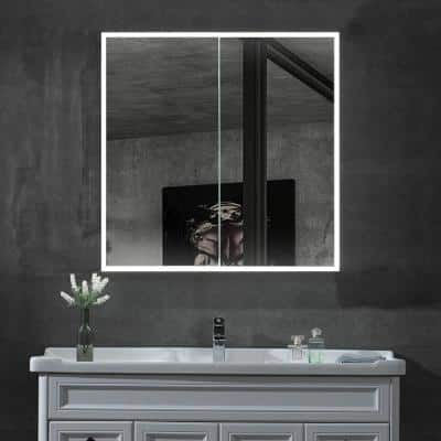 36 in. x 30 in. x 5.13 in. Framed Recessed or Surface Mount Medicine Cabinet with Mirror in Aluminum with LED