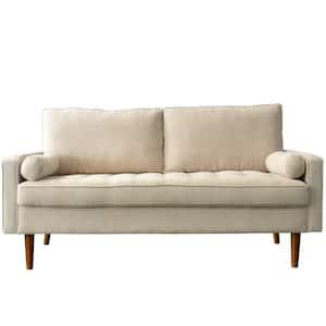 70 in. Beige Velvet Futon Sofa 2 Seats Loveseats with 2 toss pillows