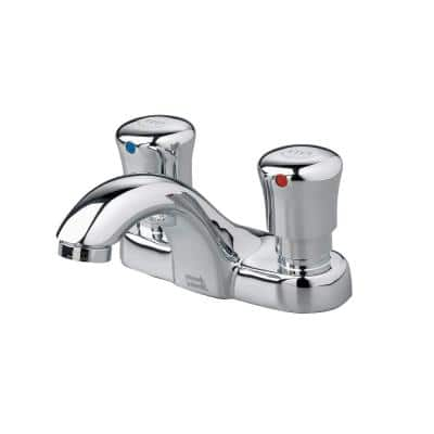 Metering Single Hole 2-Handle Low-Arc Bathroom Faucet in Polished Chrome