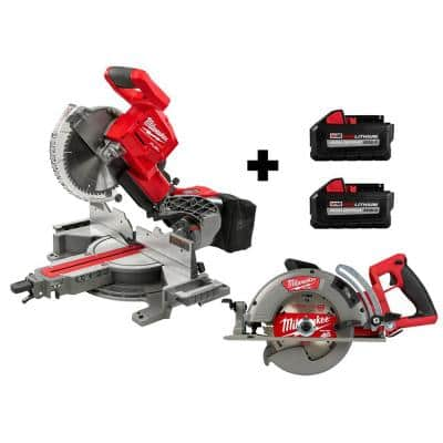 M18 FUEL 18-Volt Lithium-Ion Brushless Cordless 10 in. Dual Bevel Miter Saw and Circular Saw with (2) 8.0 Ah Batteries