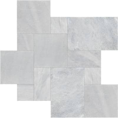 16 in. x 24 in. Rectangle Cosmic Gray Pattern Sandblast Marble Paver Kit (120 pieces/160 sq. ft./Pallet)