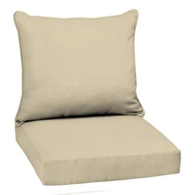 22 in. x 24 in.  Taupe Leala Texture 2-Piece Deep Seating Outdoor Lounge Chair Cushion